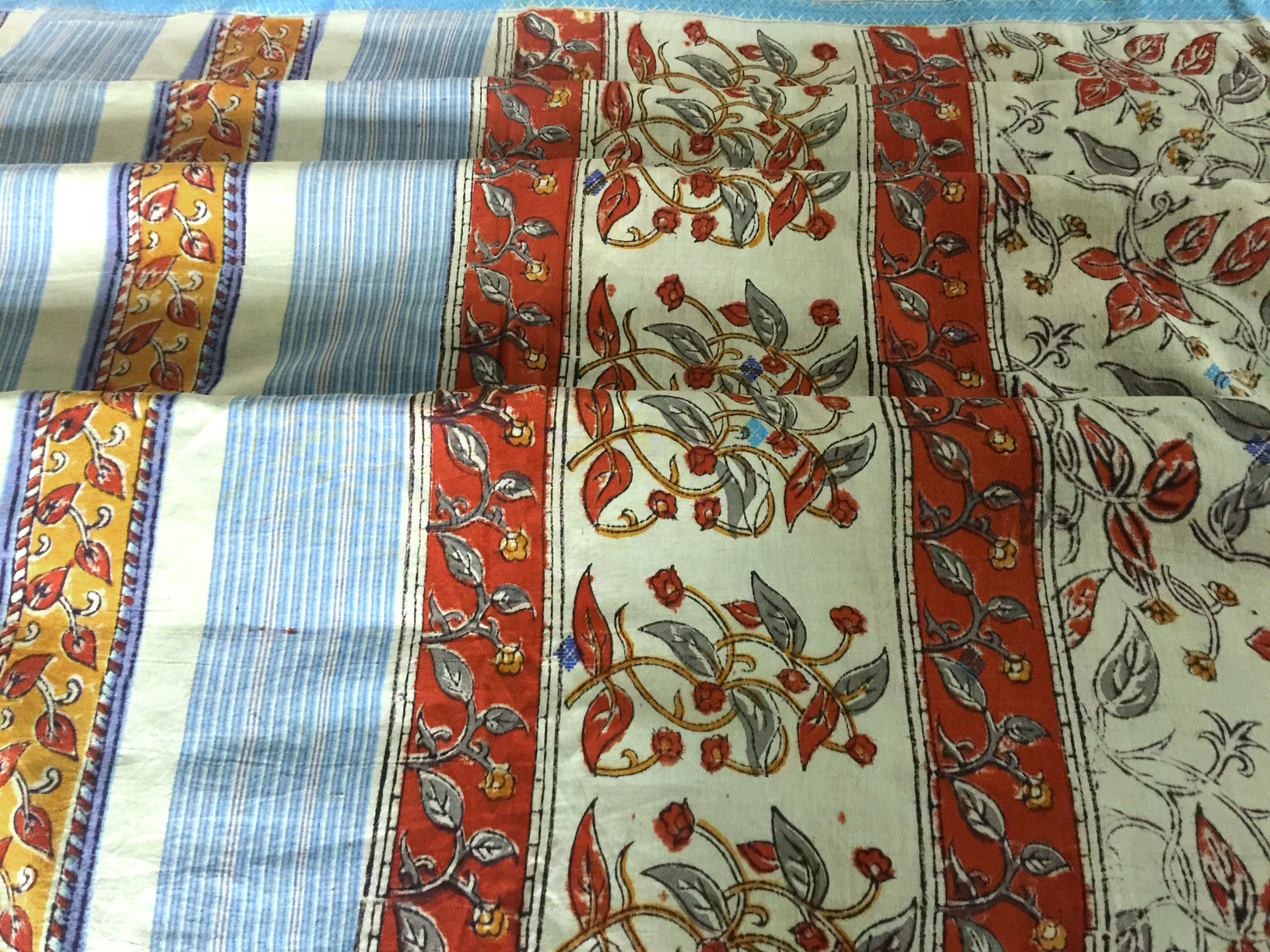 Mangalgiri Block Printed Sage and Blue