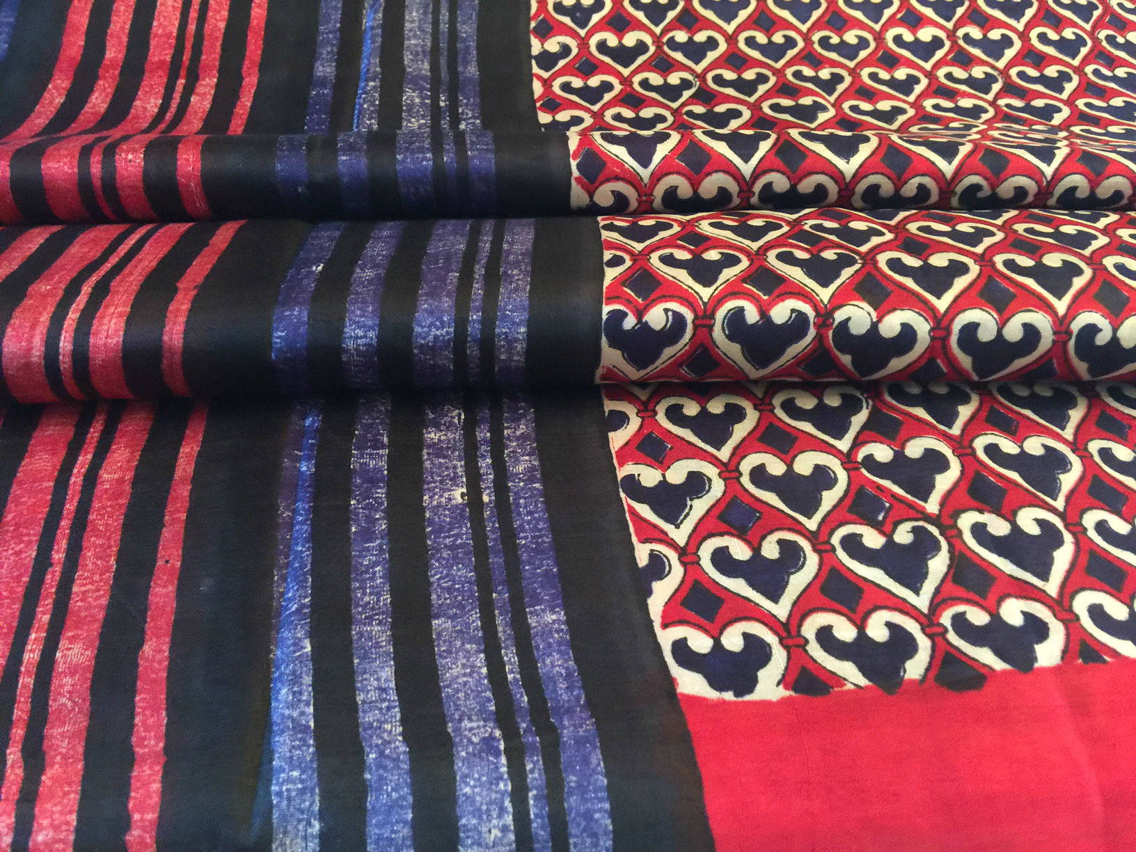 Sale! 20% Off! Printed Silk Indigo Red