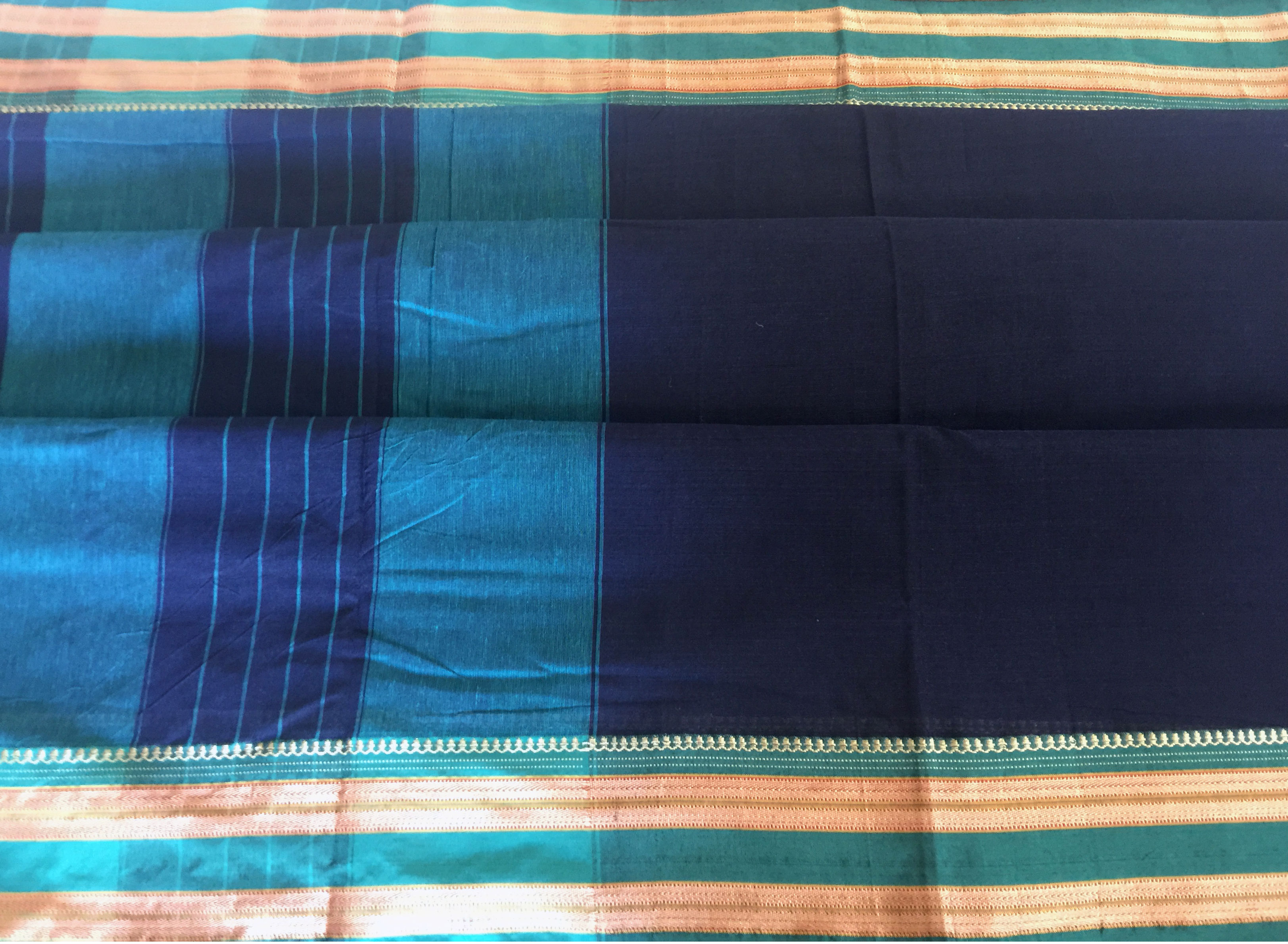 Pune Navy and Turquoise Cotton Saree