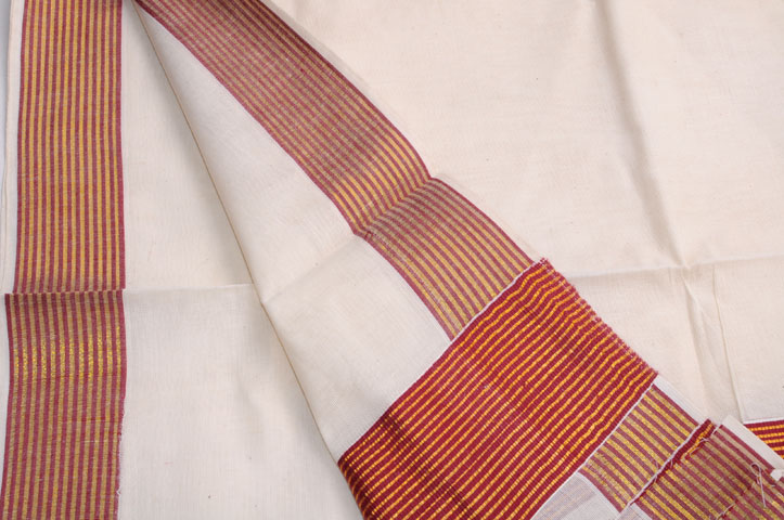 Two piece mundu set maroon zari stripes