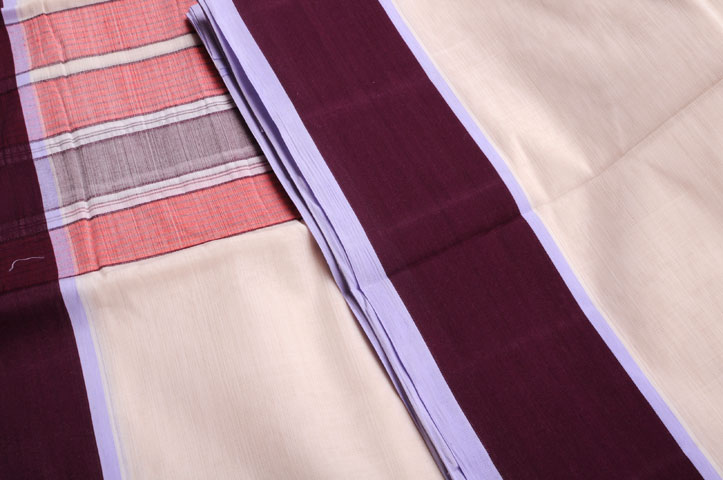 Two piece dhoti/veshti set maroon four inch border