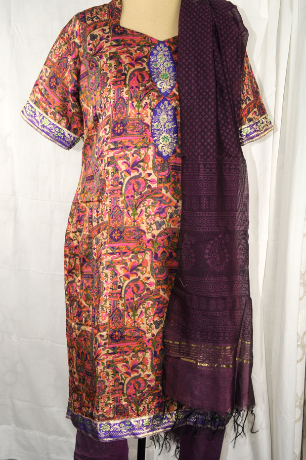 Silk print suit with purple churidar Large