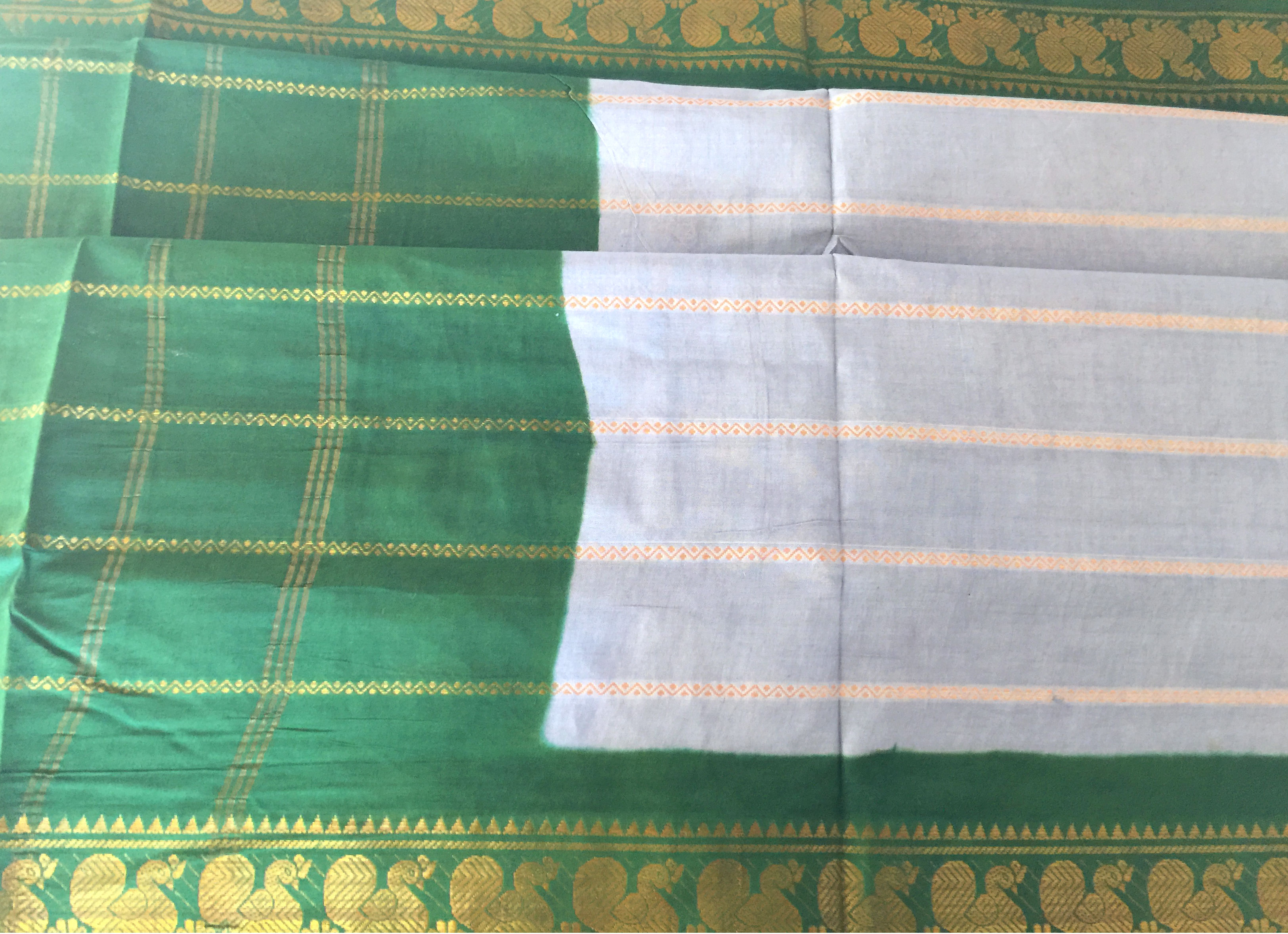 Madurai Cotton Light Blue and Green with Blouse Fabric