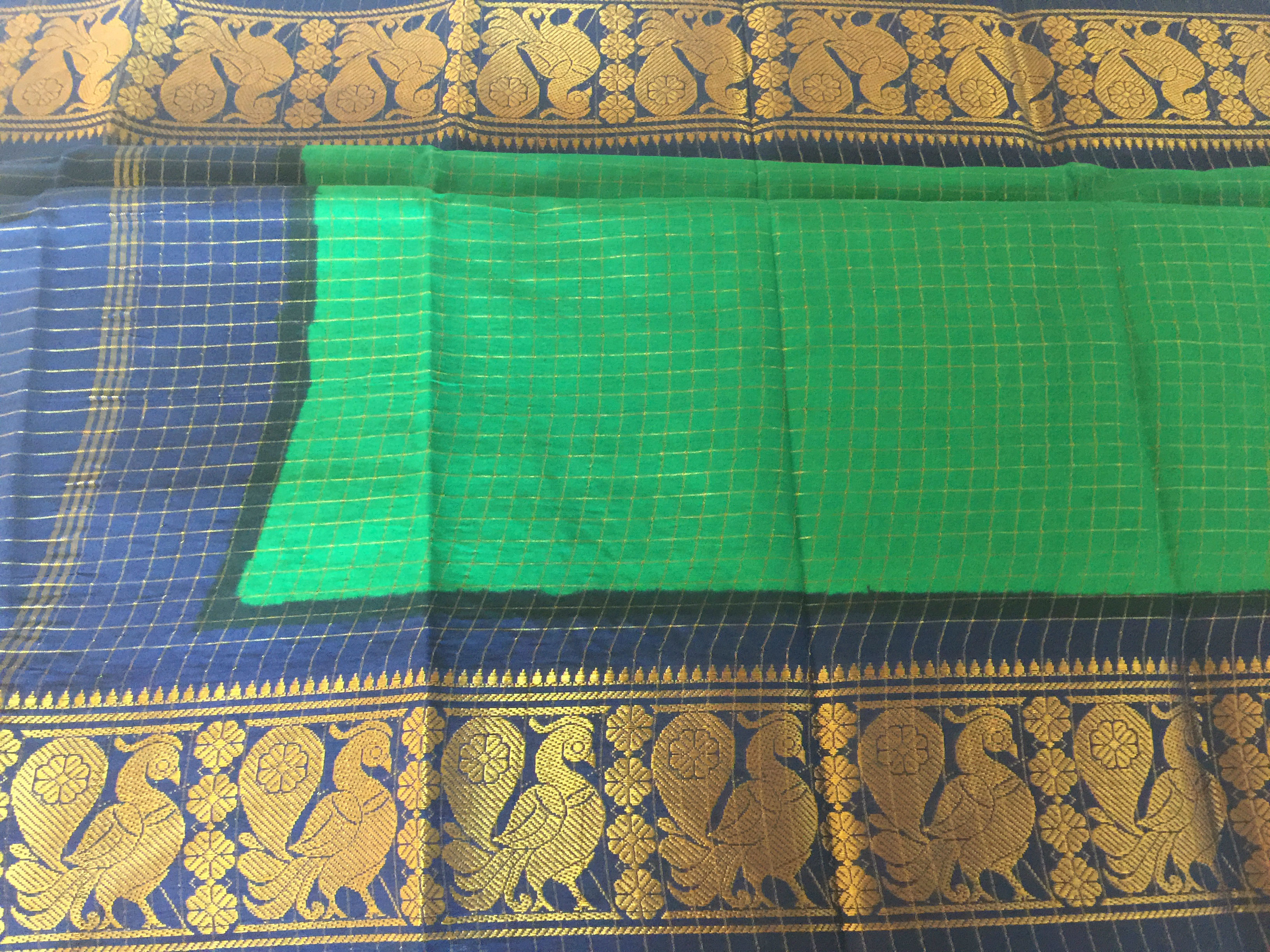 Madurai Cotton Green and Navy with Blouse Fabric