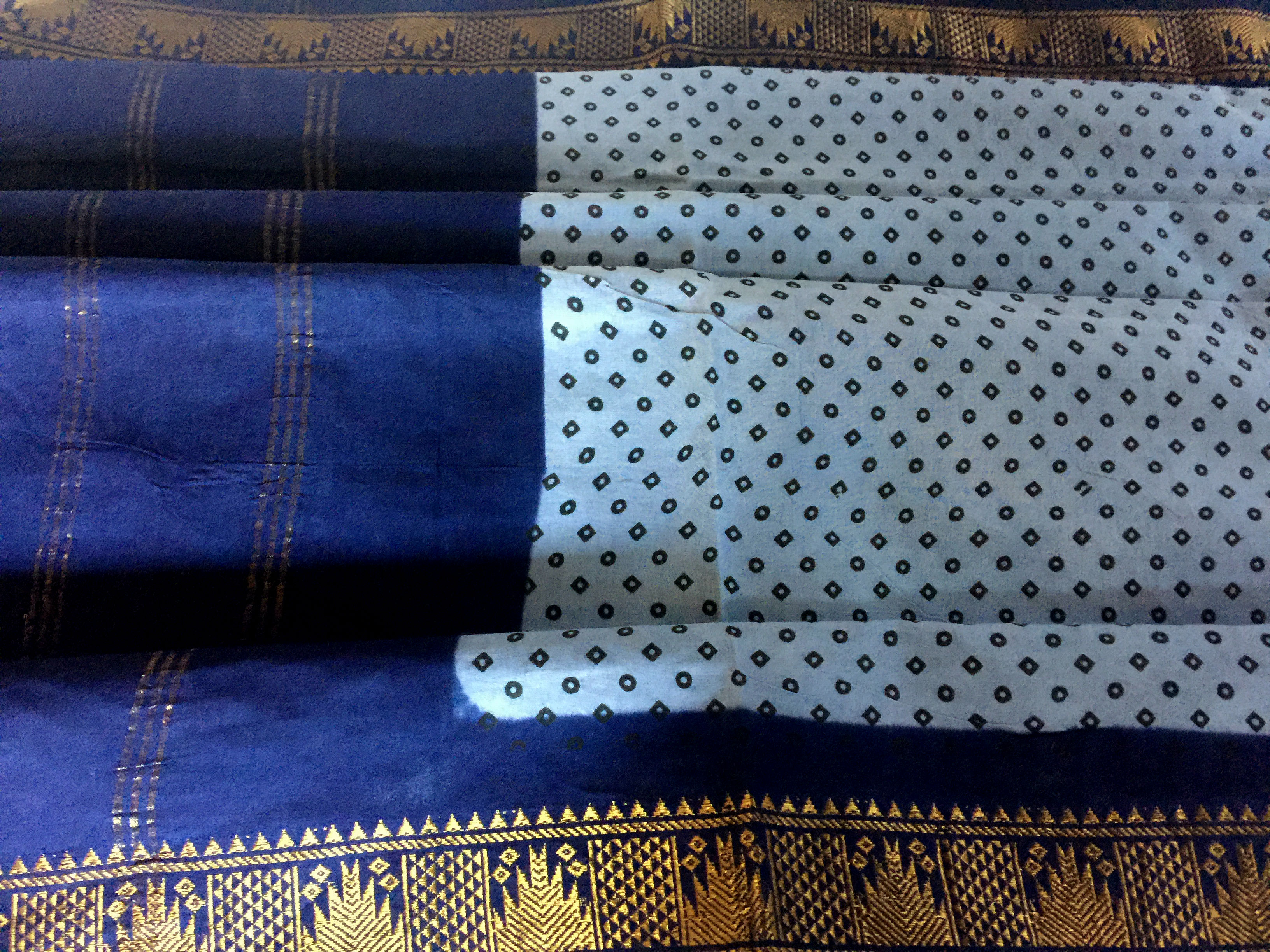 Sungudi Blue with Navy Border
