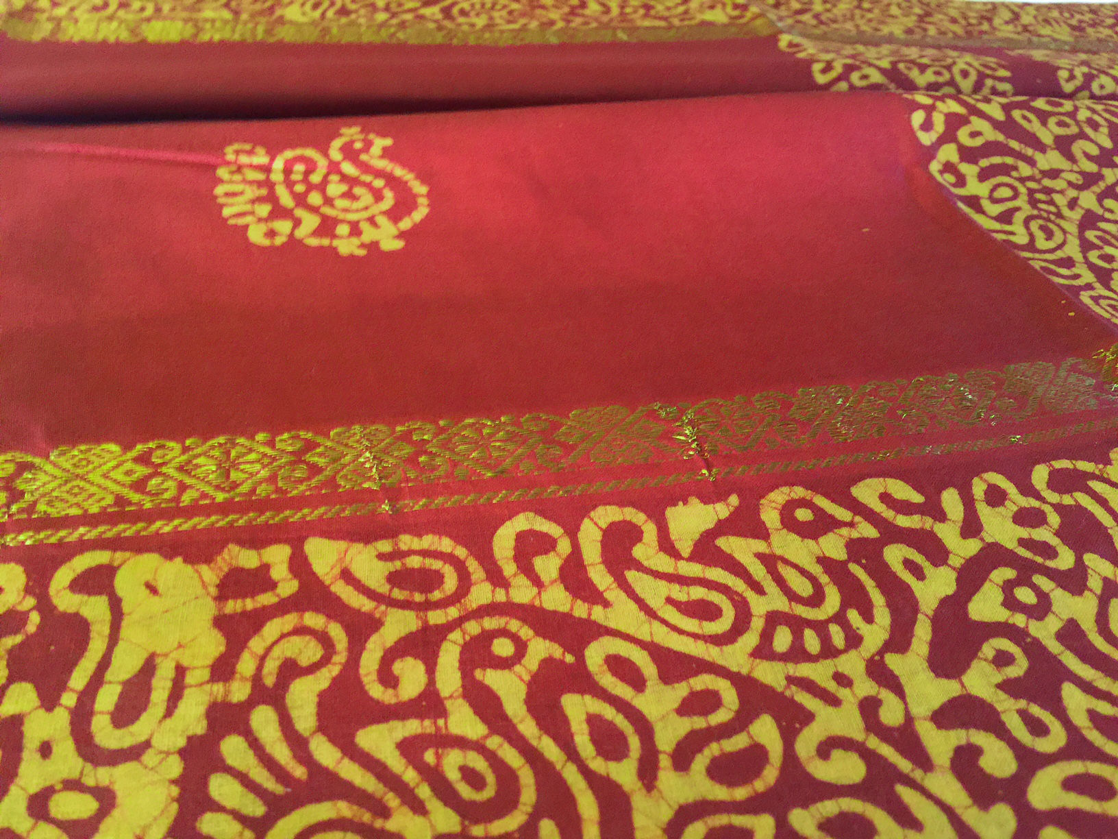 Navaratri Sale! Sungudi Brown Yellow with Zari