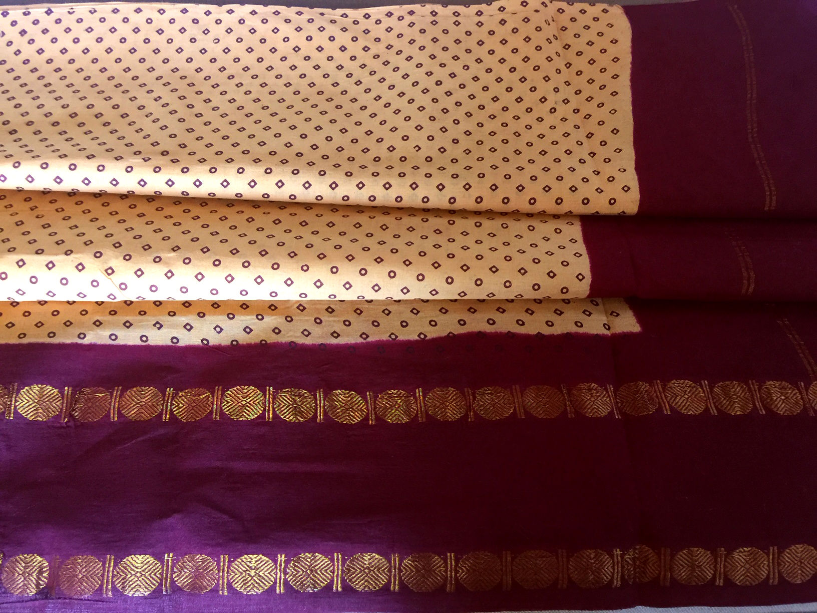 Sungudi Yellow with Maroon Traditional Cotton