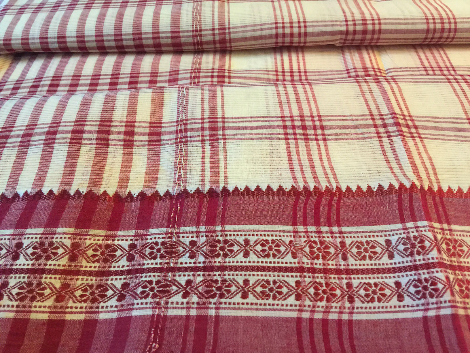 Cotton Traditional Dhonekhali Cream Maroon