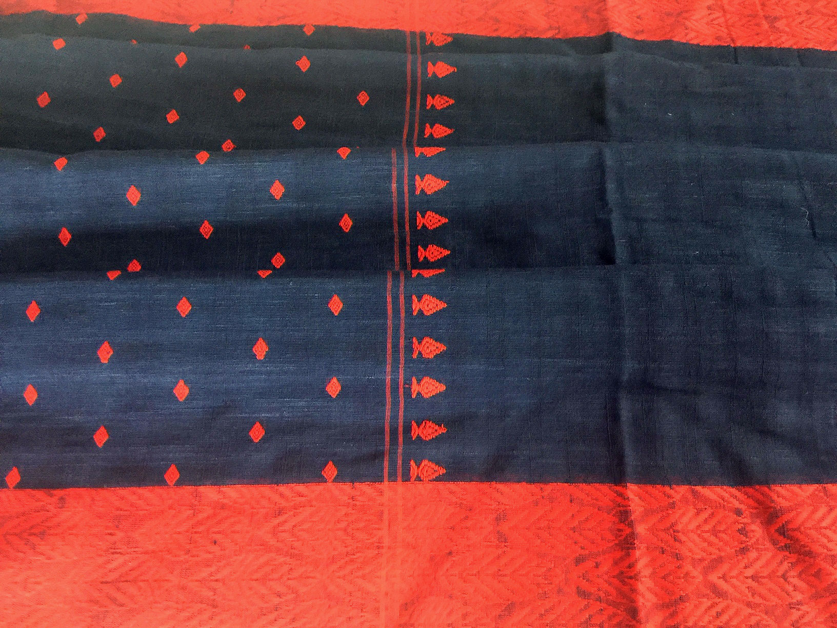 Bengal Tangail Khadi Navy and Red