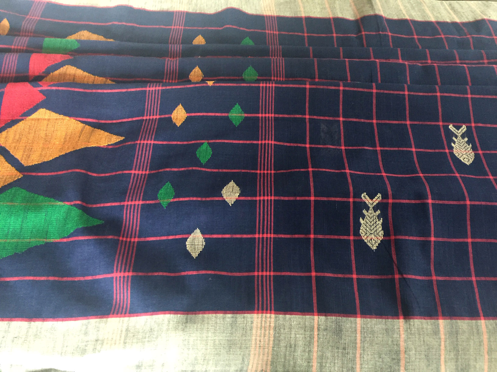 Bengal Tangail Cotton Navy with Checks and Fish