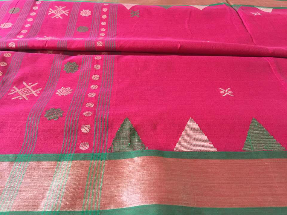 Bengal Tangail Tant Pink and Green