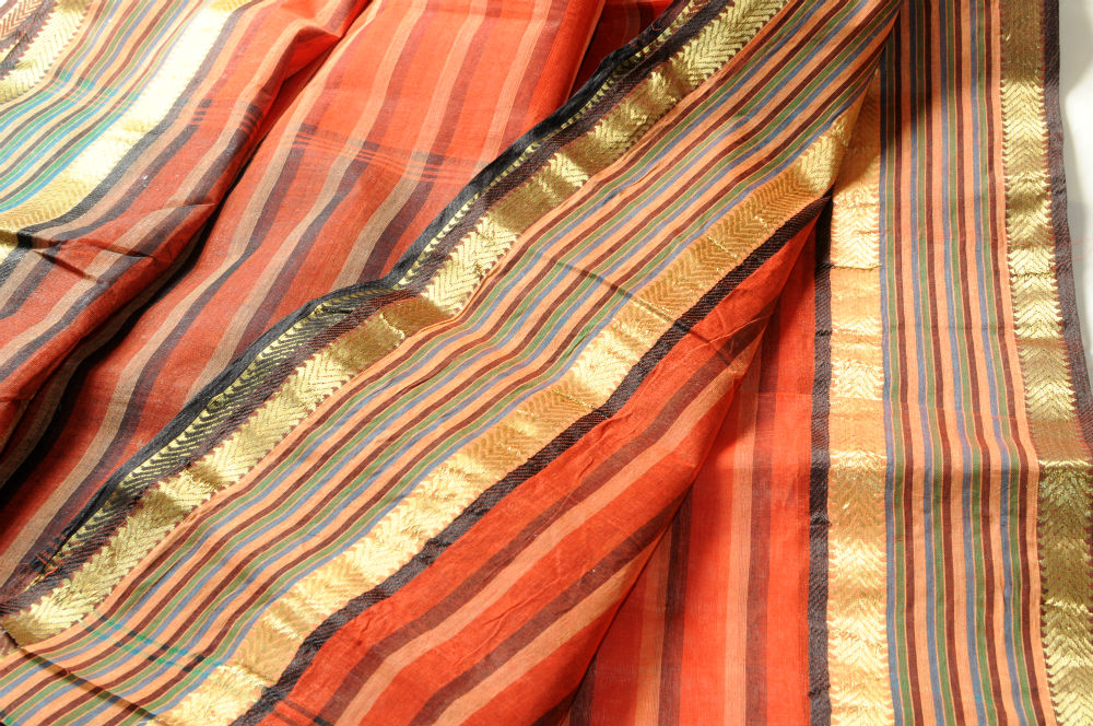 Sale!Bengali Tant Orange Black Gold Striped Border