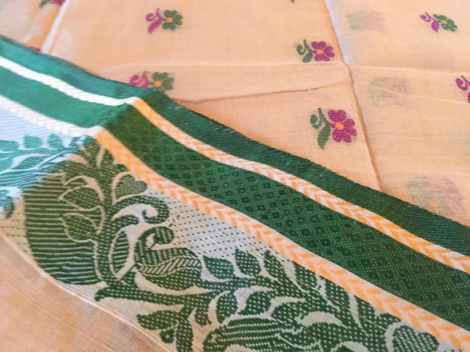 Bengal Tant Silk Cotton Beige Green Saree