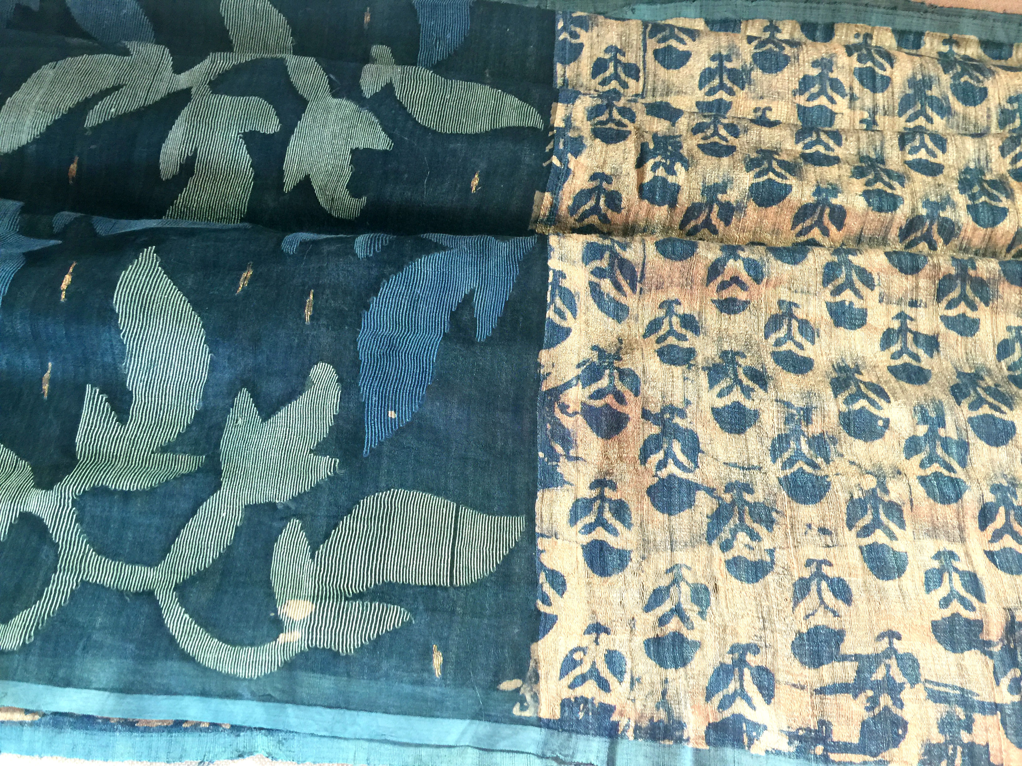 Sale! 50% Off! Byloom Block Printed Tussar with Jamdani