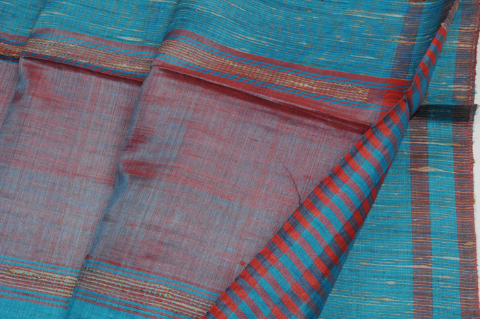 Tussar Silk handloom sari royal red
