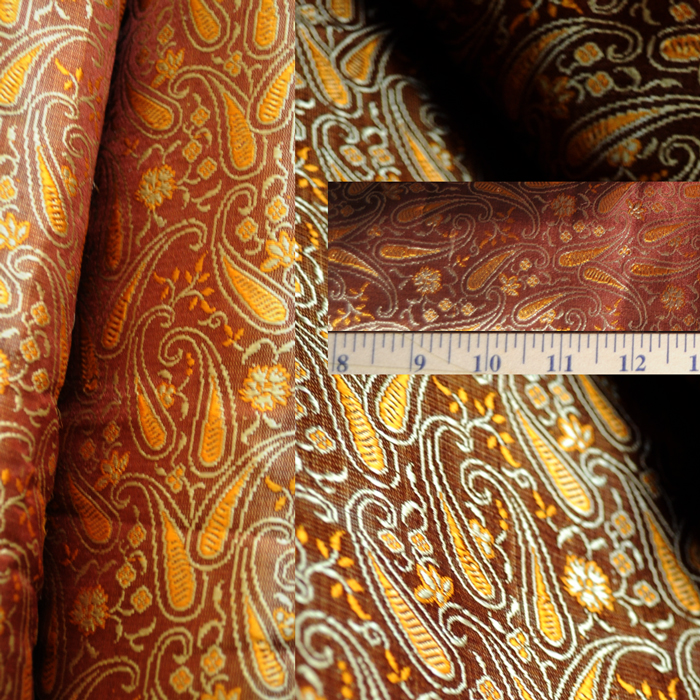 Yardage - Benaras Brocade Silk Copper Gold Paisley