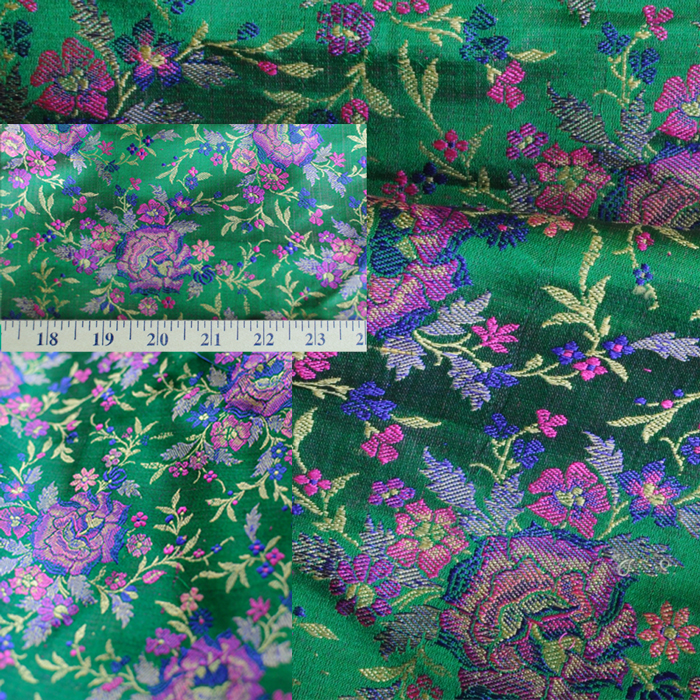 Yardage - Benaras Brocade Silk Emerald Purple - Click Image to Close