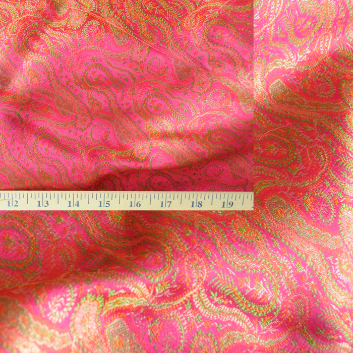 Yardage - Benaras Brocade Silk Fuschia Green