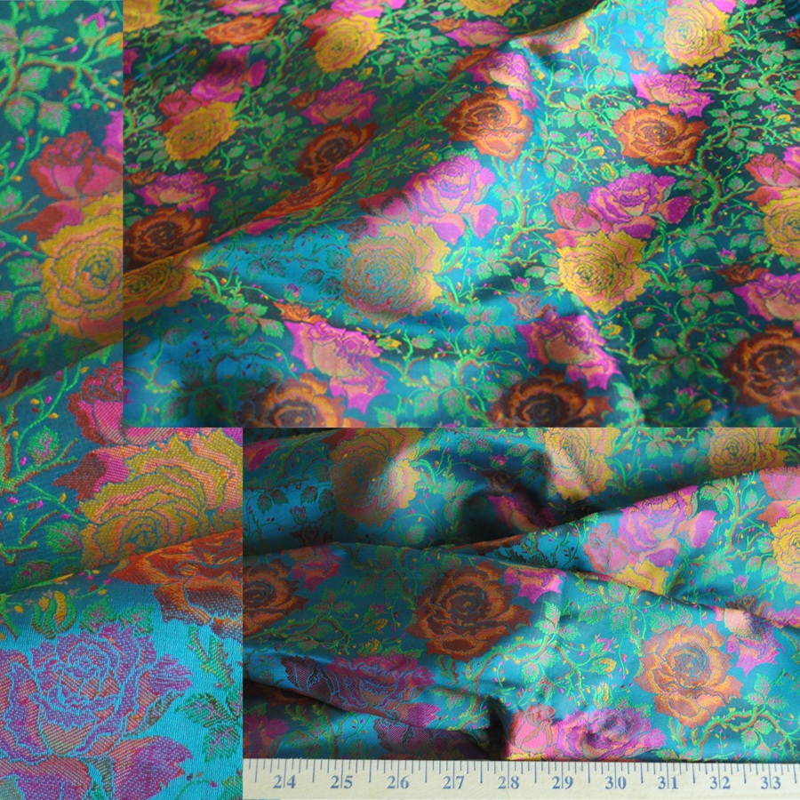 Yardage - Benaras Brocade Silk Teal Gold Rose