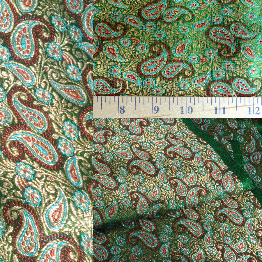 Yardage - Benaras Brocade Silk Green Red Paisley
